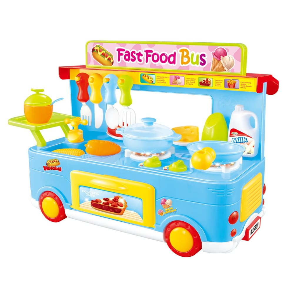 Fast Food Bus Kitchen Play Set Toy 29pcs (Blue)