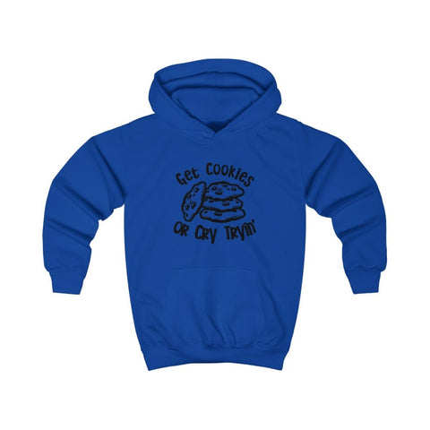 Image of Get Cookies Or Cry Tryin Kids Hoodie - Royal Blue / XS - Kids clothes