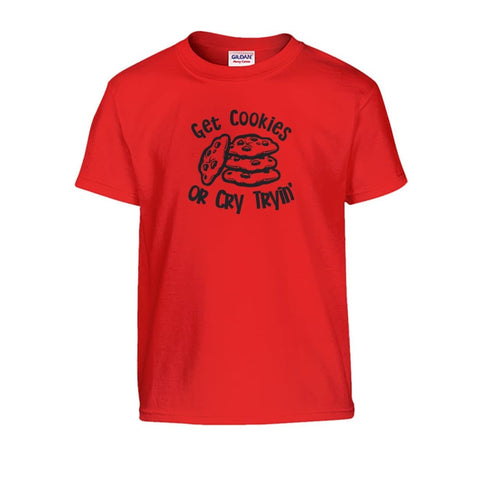 Get Cookies Or Cry Tryin Kids Tee - Red / S - Kids