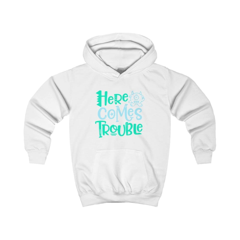 Here Comes Trouble Kids Hoodie - Arctic White / XS - Kids clothes