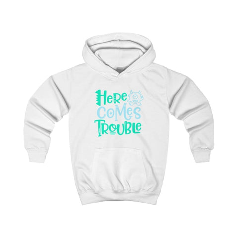 Image of Here Comes Trouble Kids Hoodie - Arctic White / XS - Kids clothes