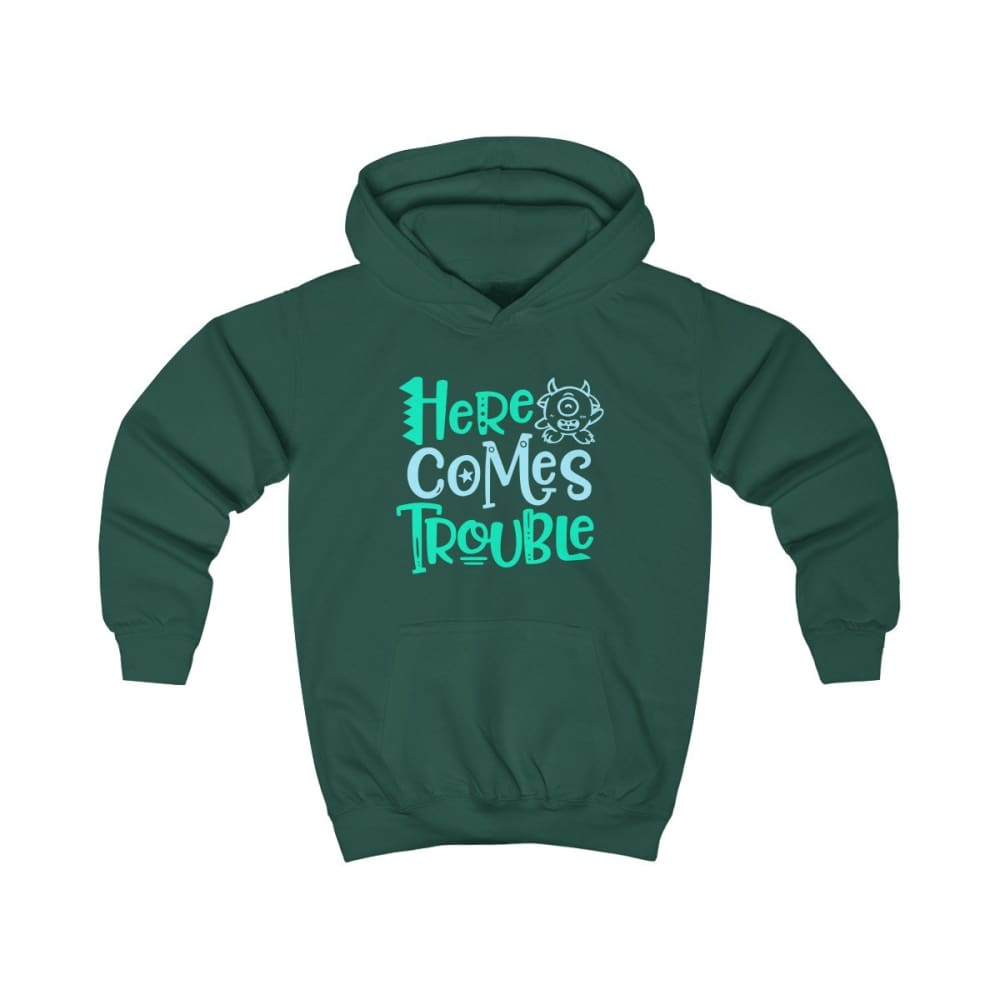 Here Comes Trouble Kids Hoodie - Bottle Green / L - Kids clothes