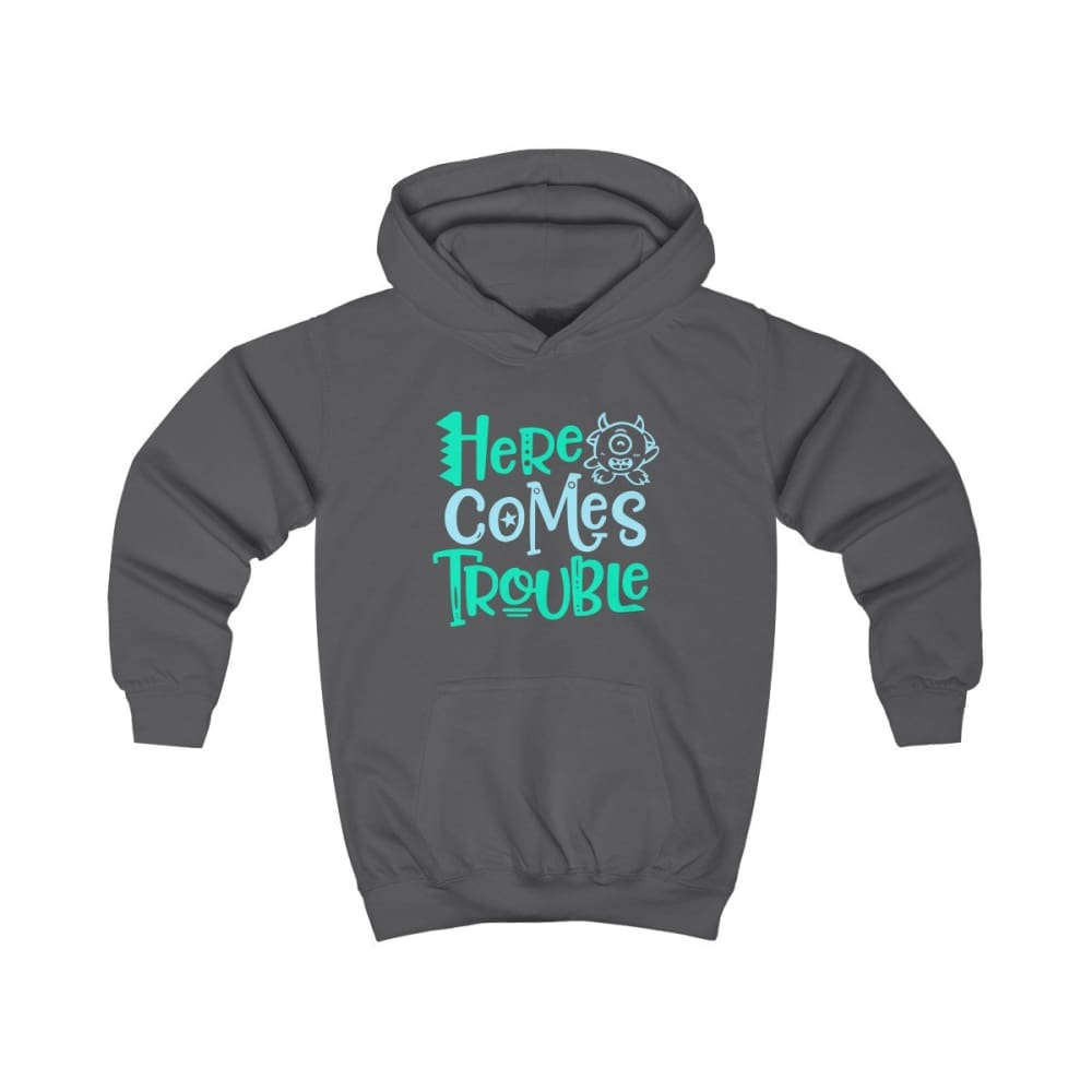 Here Comes Trouble Kids Hoodie - Charcoal / XS - Kids clothes