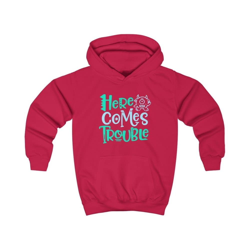 Here Comes Trouble Kids Hoodie - Fire Red / XS - Kids clothes