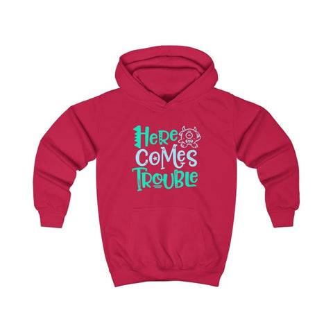 Image of Here Comes Trouble Kids Hoodie - Fire Red / XS - Kids clothes
