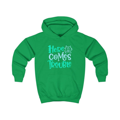 Image of Here Comes Trouble Kids Hoodie - Kelly Green / XS - Kids clothes
