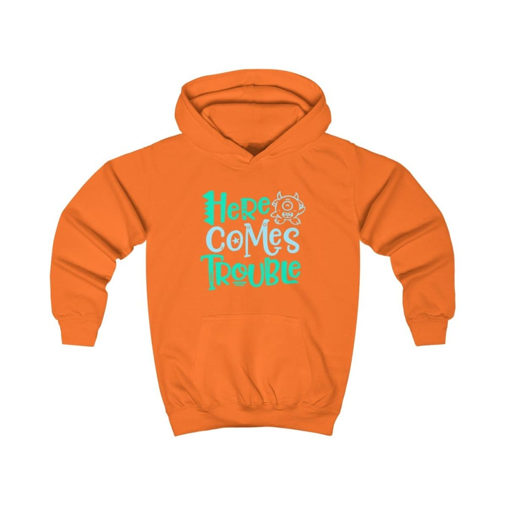 Here Comes Trouble Kids Hoodie - Orange Crush / XS - Kids clothes