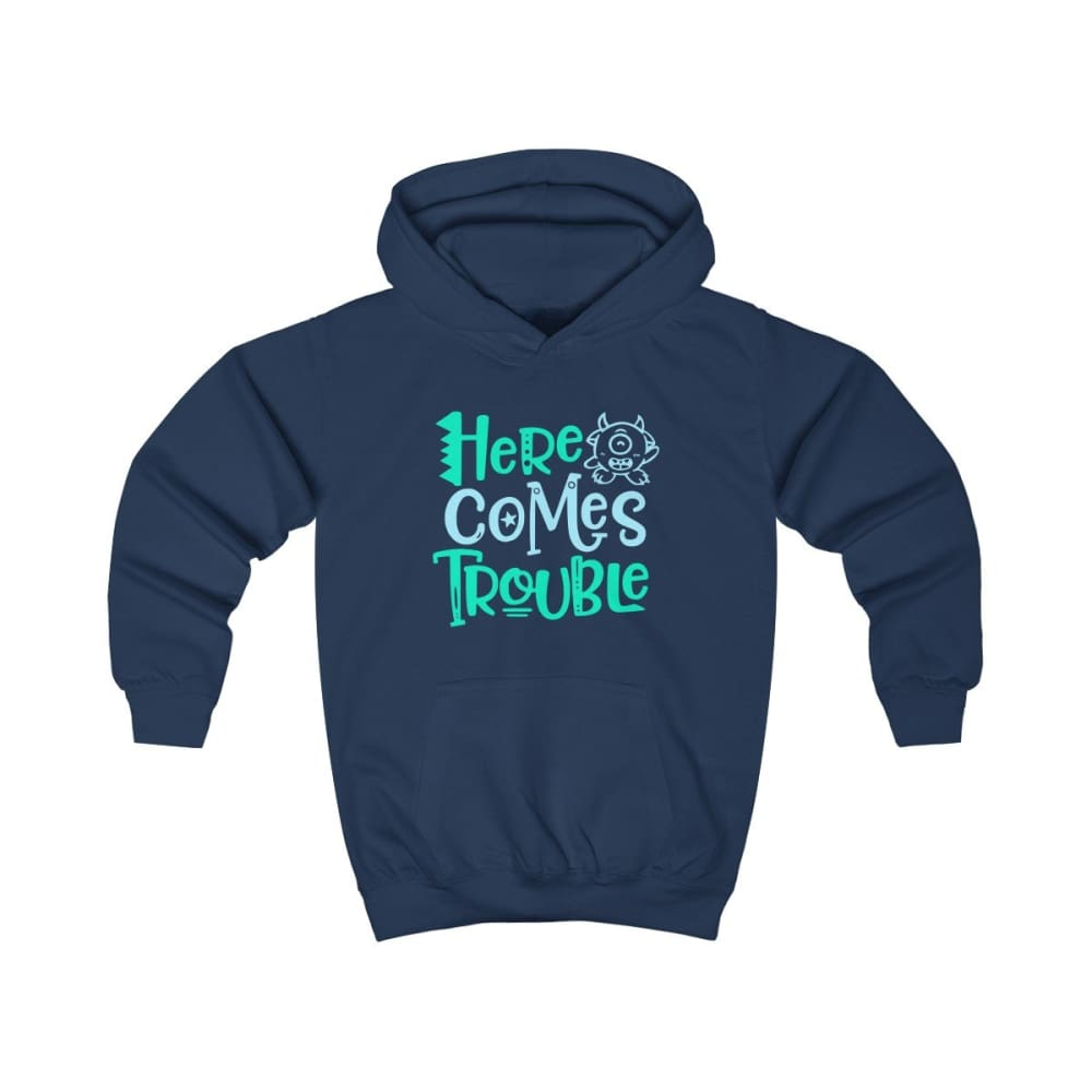 Here Comes Trouble Kids Hoodie - Oxford Navy / XS - Kids clothes