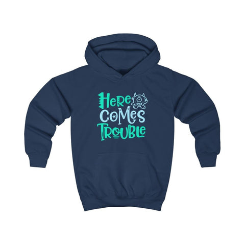 Image of Here Comes Trouble Kids Hoodie - Oxford Navy / XS - Kids clothes