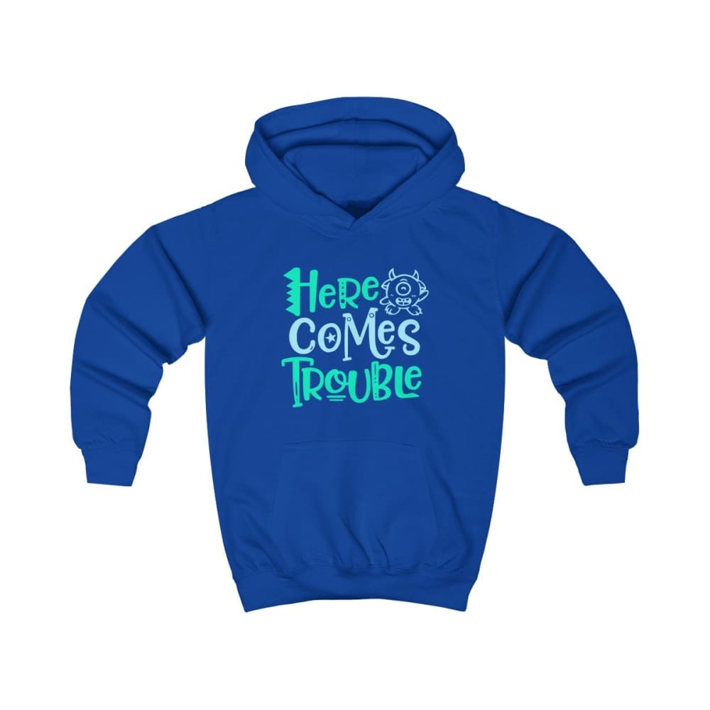 Here Comes Trouble Kids Hoodie - Royal Blue / XS - Kids clothes