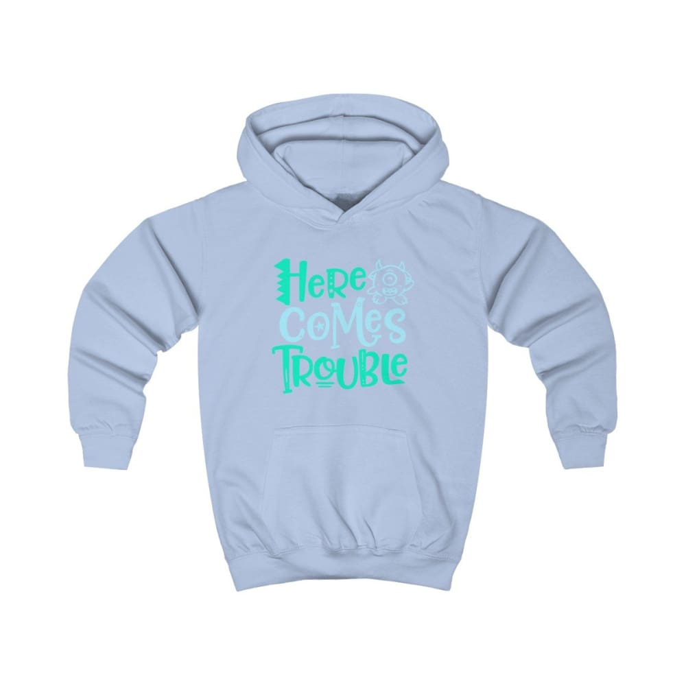 Here Comes Trouble Kids Hoodie - Sky Blue / XS - Kids clothes