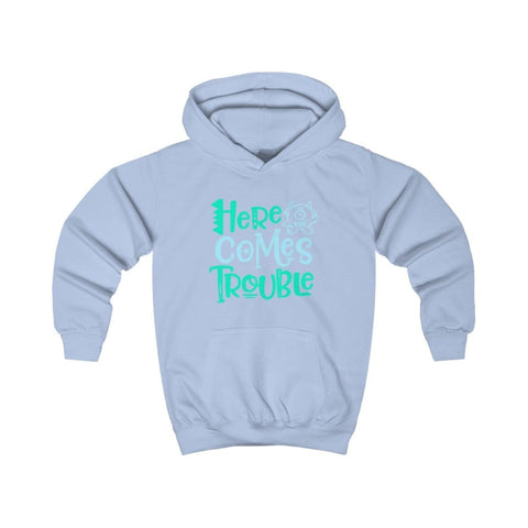 Image of Here Comes Trouble Kids Hoodie - Sky Blue / XS - Kids clothes