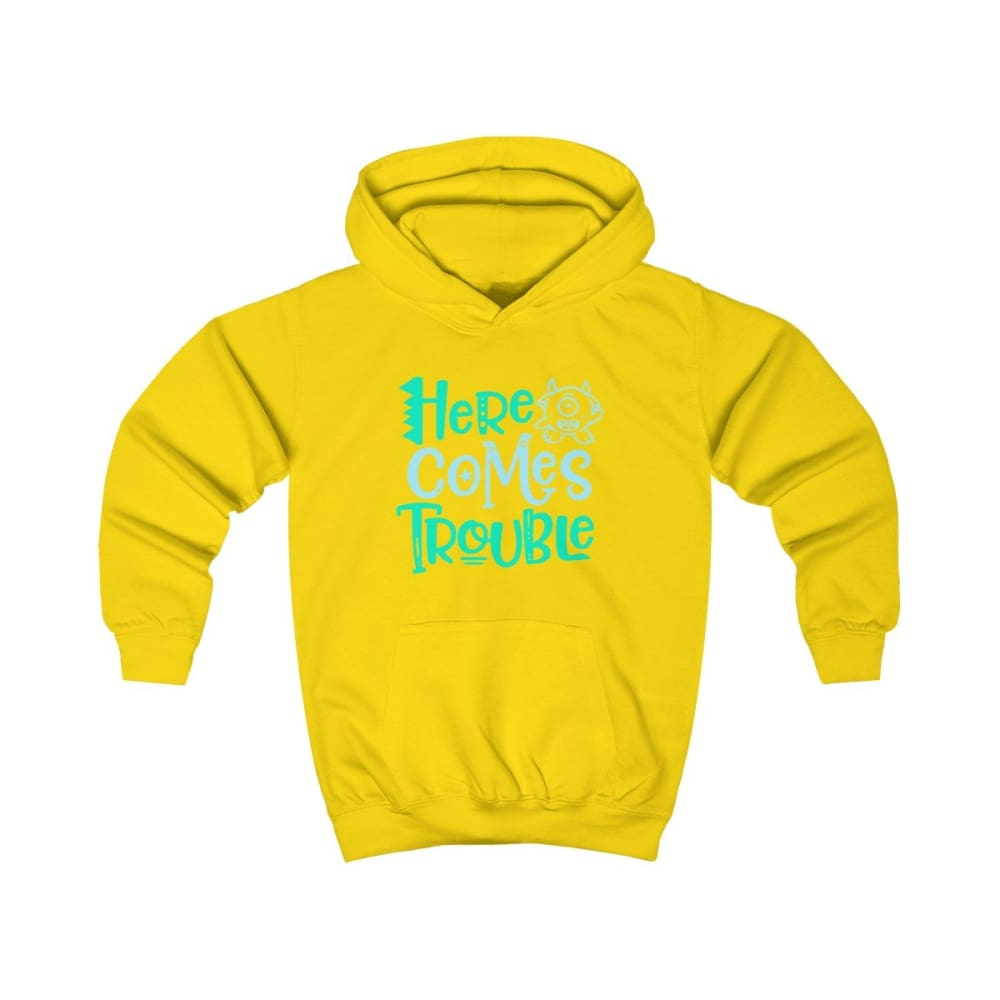 Here Comes Trouble Kids Hoodie - Sun Yellow / XS - Kids clothes