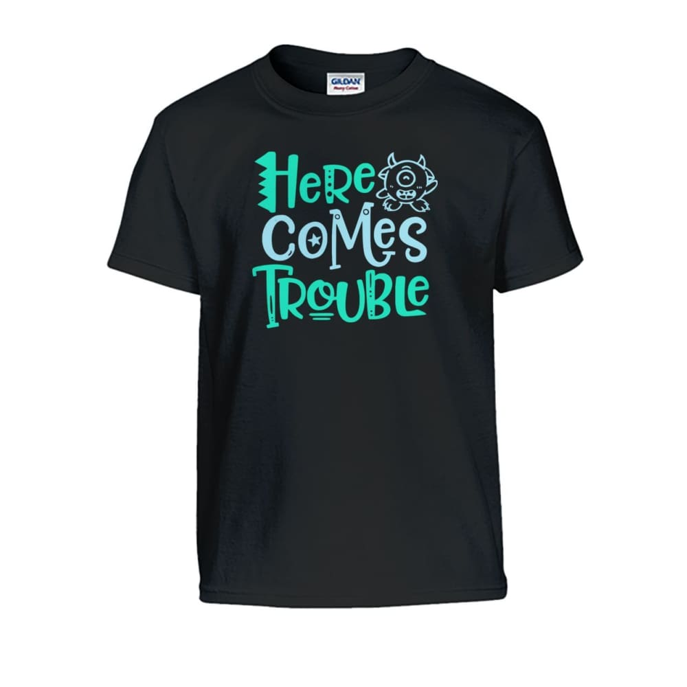 Here Comes Trouble Kids Tee - Black / S - Kids