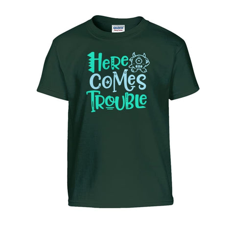 Here Comes Trouble Kids Tee - Forest Green / S - Kids