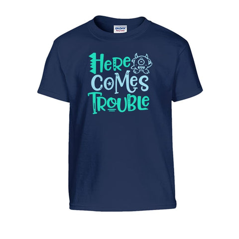 Here Comes Trouble Kids Tee - Navy / S - Kids