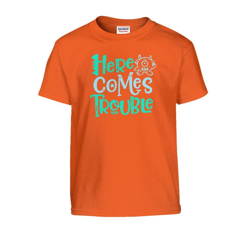 Image of Here Comes Trouble Kids Tee - Orange / S - Kids