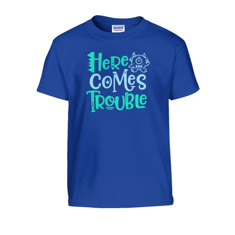 Here Comes Trouble Kids Tee - Royal / S - Kids