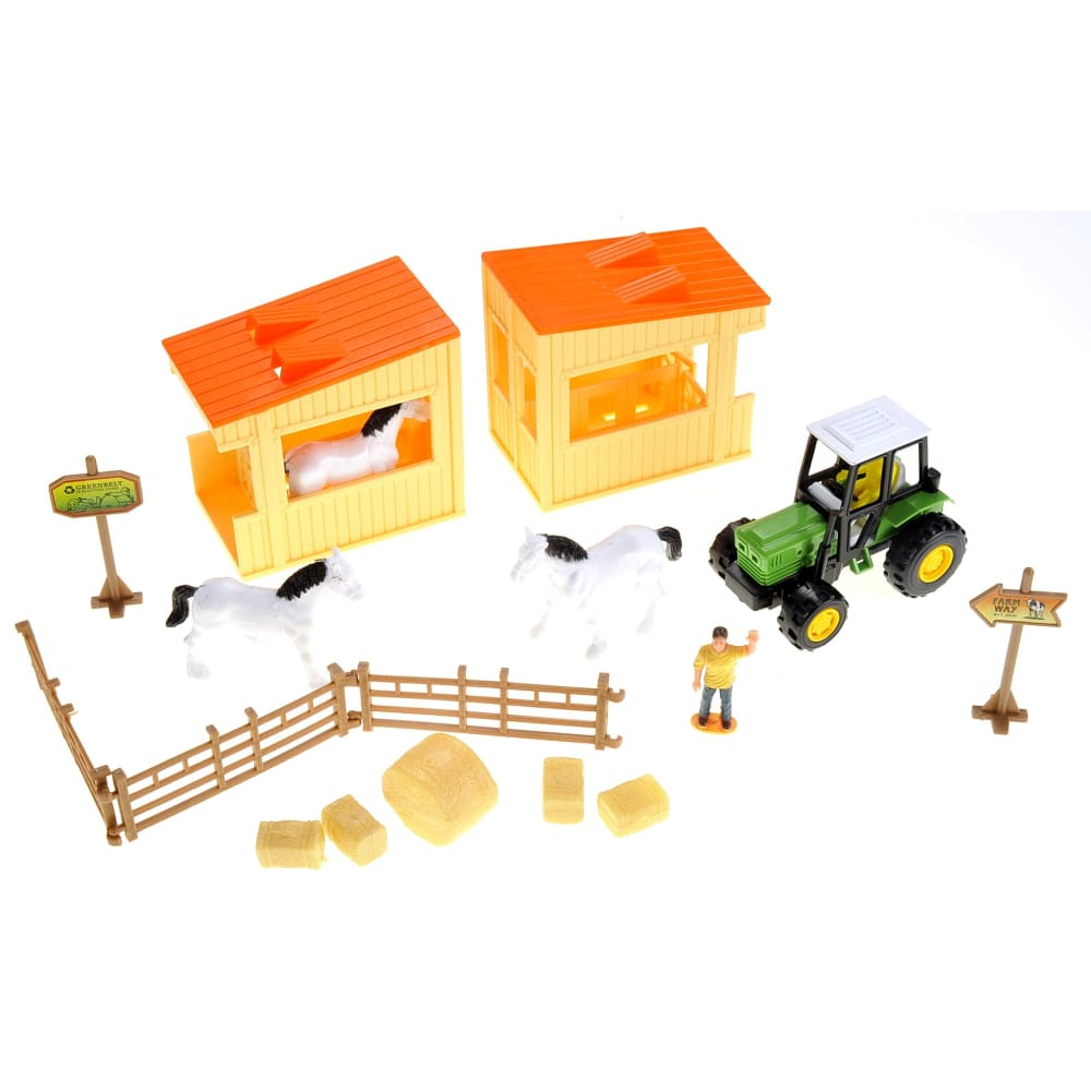 Horse Barn Farm Playset With Tractor