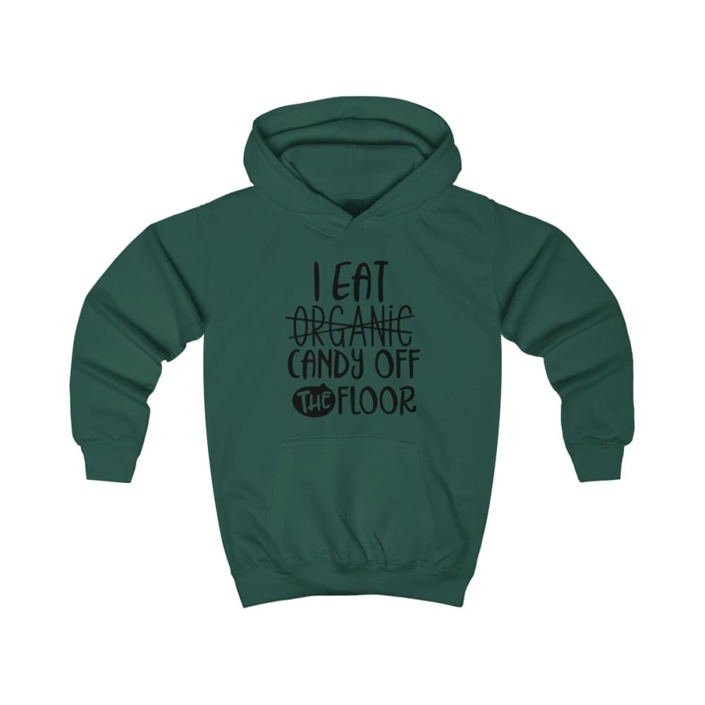 I eat Candy Off The Floor Kids Hoodie - Bottle Green / XS - Kids clothes