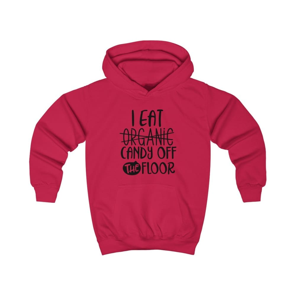 I eat Candy Off The Floor Kids Hoodie - Fire Red / XS - Kids clothes