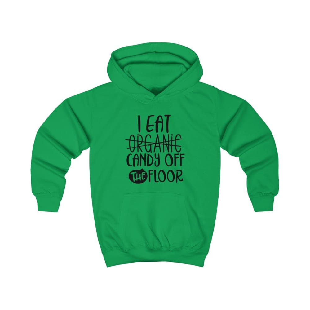 I eat Candy Off The Floor Kids Hoodie - Kelly Green / XS - Kids clothes
