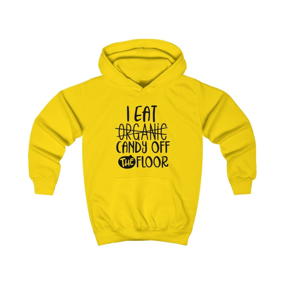 I eat Candy Off The Floor Kids Hoodie - Sun Yellow / XS - Kids clothes