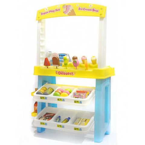 Ice Cream Shop 47 Piece Luxury Grocery Supermarket Pretend Playset (Yellow)