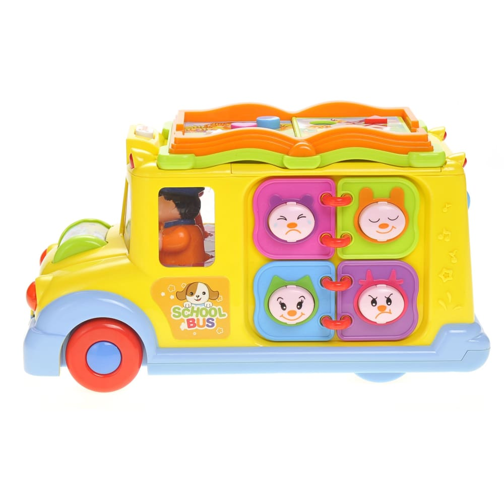 Interactive School Bus Toy With Flashing Lights & Sounds