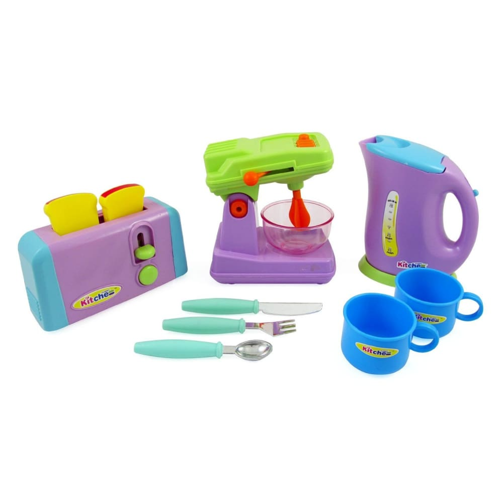 Kitchen Appliances Play Set For Kids - Mixer Toaster Kettle Cups & Utensils Set
