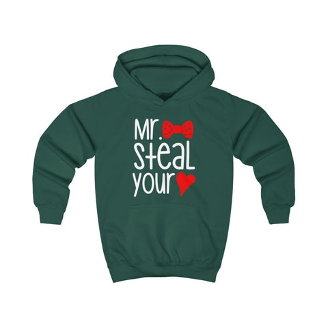 Mr. Steal Your Heart Kids Hoodie - Bottle Green / XS - Kids clothes