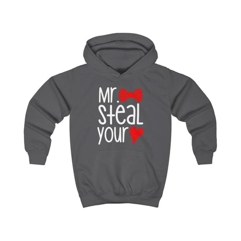 Mr. Steal Your Heart Kids Hoodie - Charcoal / XS - Kids clothes