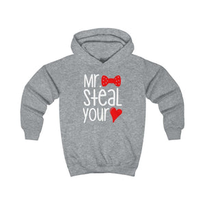 Mr. Steal Your Heart Kids Hoodie - Heather Grey / L - Kids clothes