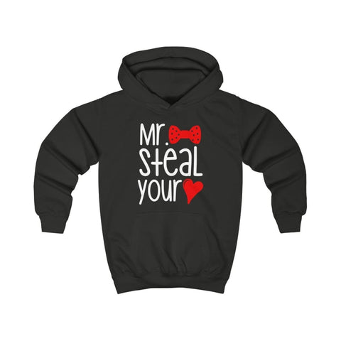 Mr. Steal Your Heart Kids Hoodie - Jet Black / XS - Kids clothes