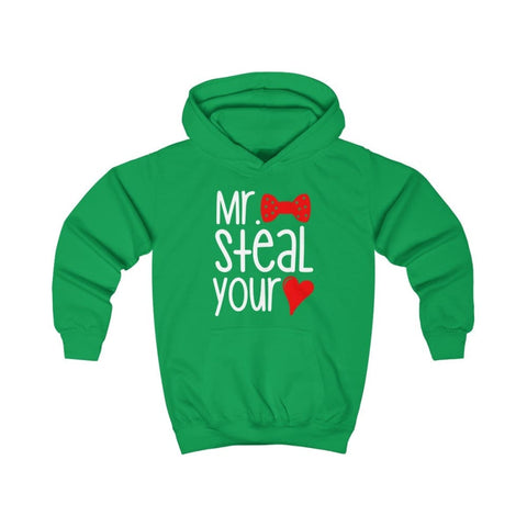 Mr. Steal Your Heart Kids Hoodie - Kelly Green / XS - Kids clothes