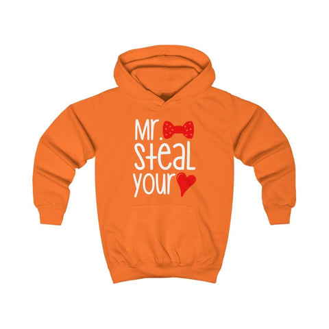 Mr. Steal Your Heart Kids Hoodie - Orange Crush / XS - Kids clothes