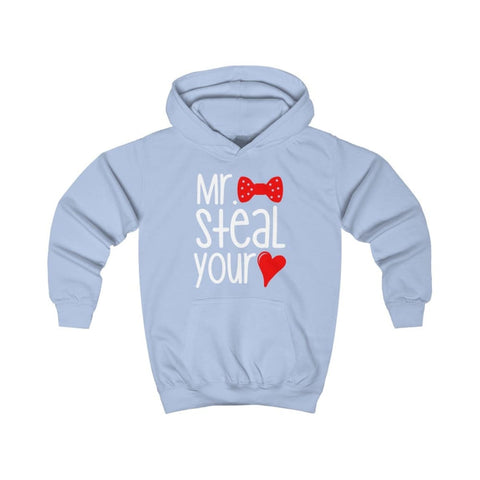 Mr. Steal Your Heart Kids Hoodie - Sky Blue / XS - Kids clothes