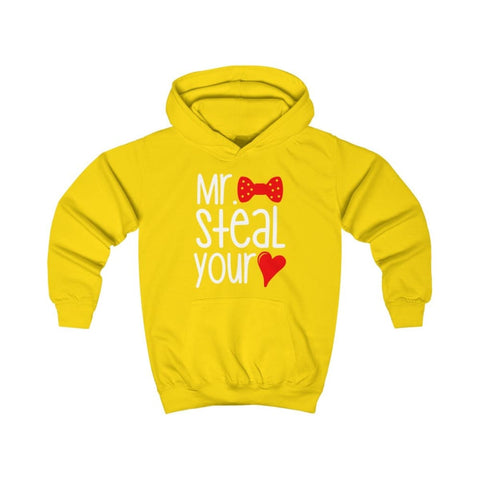 Mr. Steal Your Heart Kids Hoodie - Sun Yellow / XS - Kids clothes