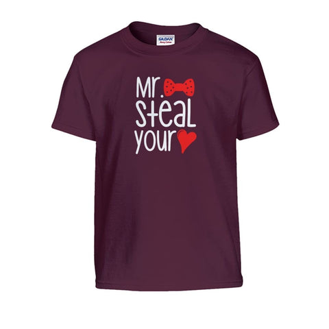 Mr. Steal Your Heart Kids Tee - Maroon / S - Kids