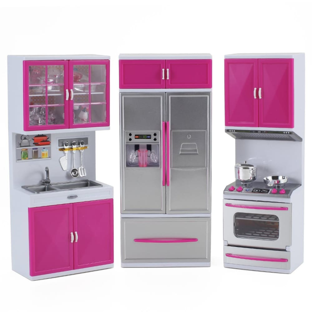 My Modern Kitchen Full Deluxe Kit Battery Operated Kitchen Playset: Refrigerator Stove Sink
