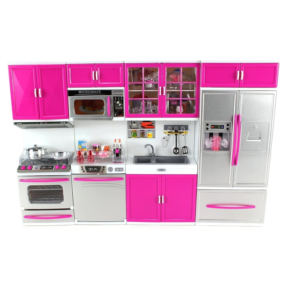 My Modern Kitchen Full Deluxe Kit Battery Operated Kitchen Playset : Refrigerator Stove Sink Microwave