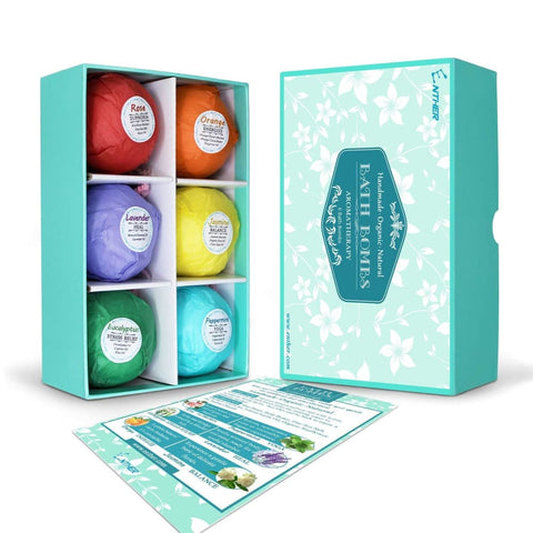 Organic Bath Bombs Gift Set for Dry Skin (Pack of 6) - Bath and Beauty