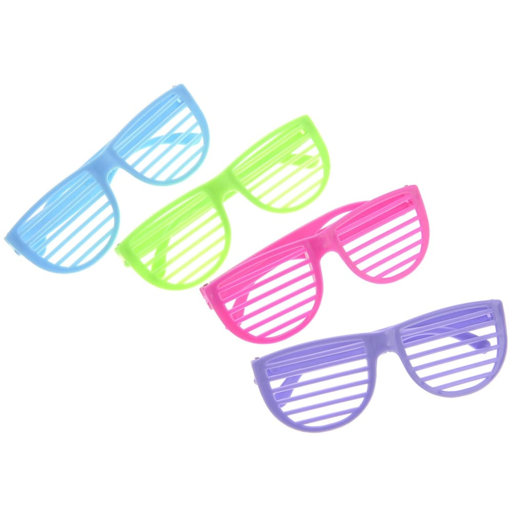 Plastic Shutter Shades Glasses (12Pairs/PK Purple Blue Green And Pink)