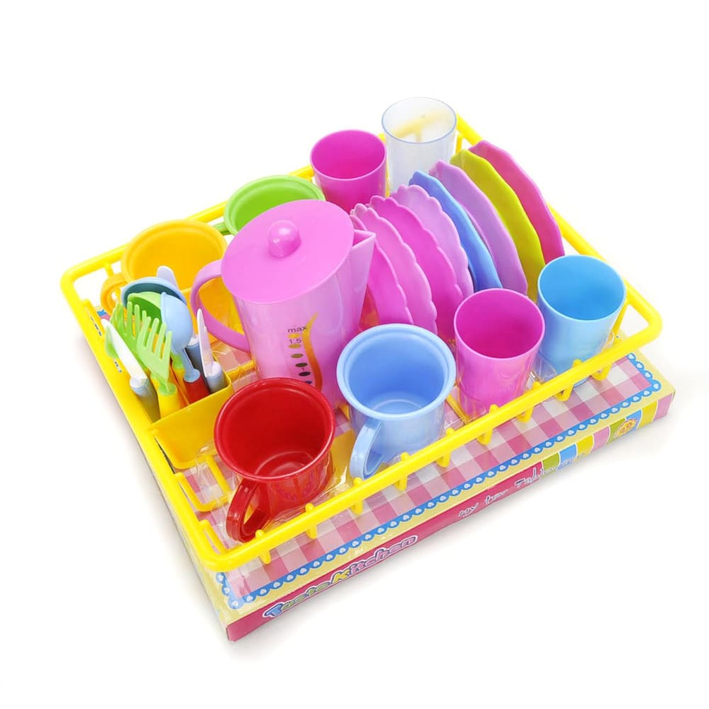 Play Dishes Kitchen Wash and Dry Tea Playset 27pcs