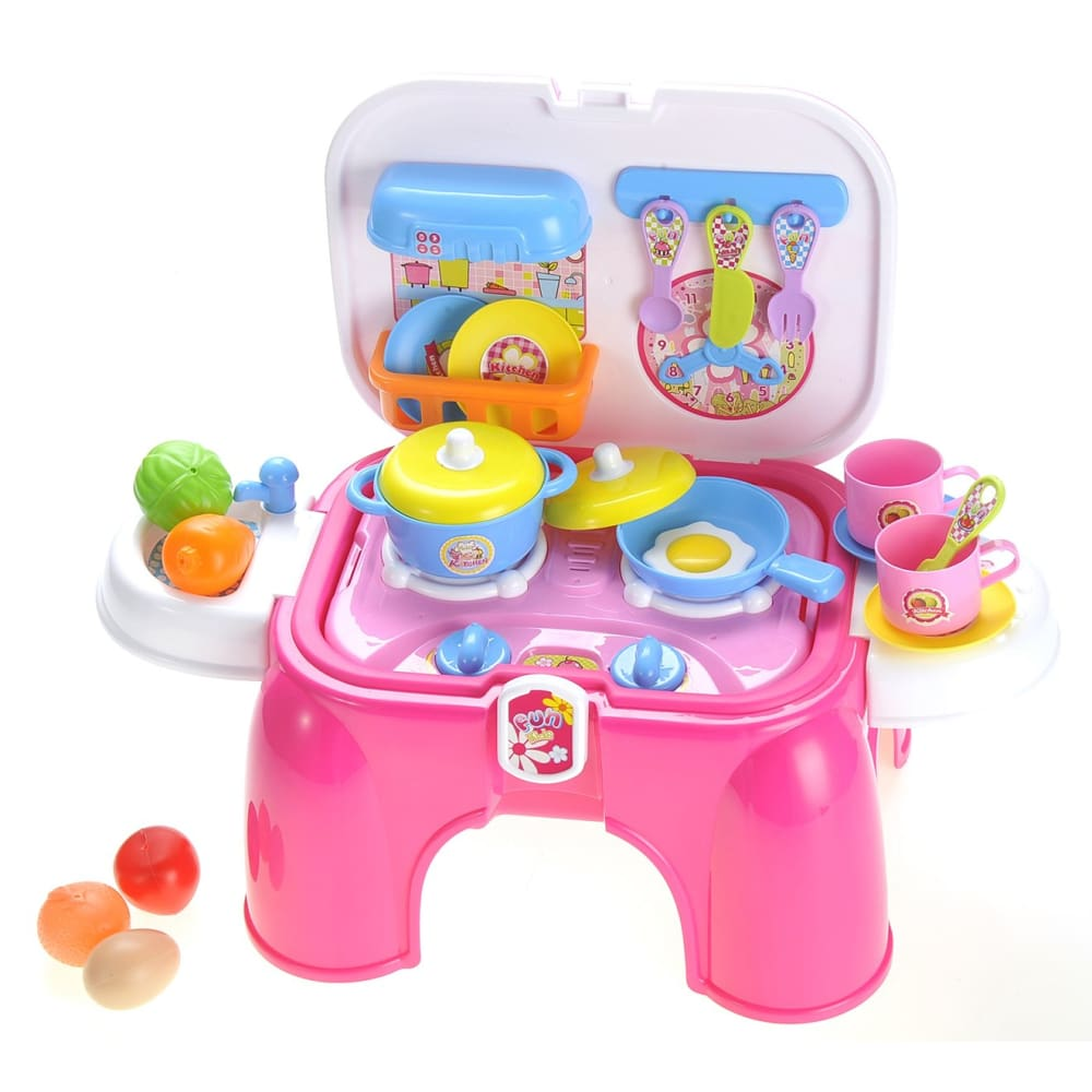 Portable Kids Kitchen Cooking Set Toy With Lights And Sounds Folds Into Stepstool