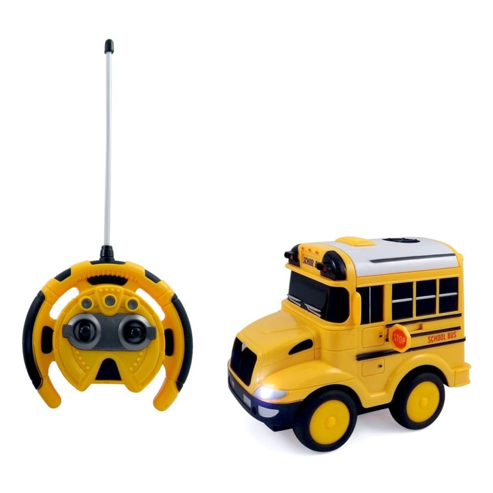 School Bus RC Toy Car For Kids With Steering Wheel Remote Lights and Sounds