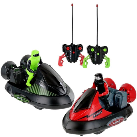 Set of 2 Stunt Remote Control RC Battle Bumper Cars With Drivers