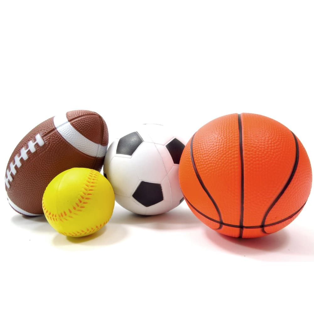 Set Of 4 Sports Balls For Kids (Soccer Ball Basketball Football Baseball)