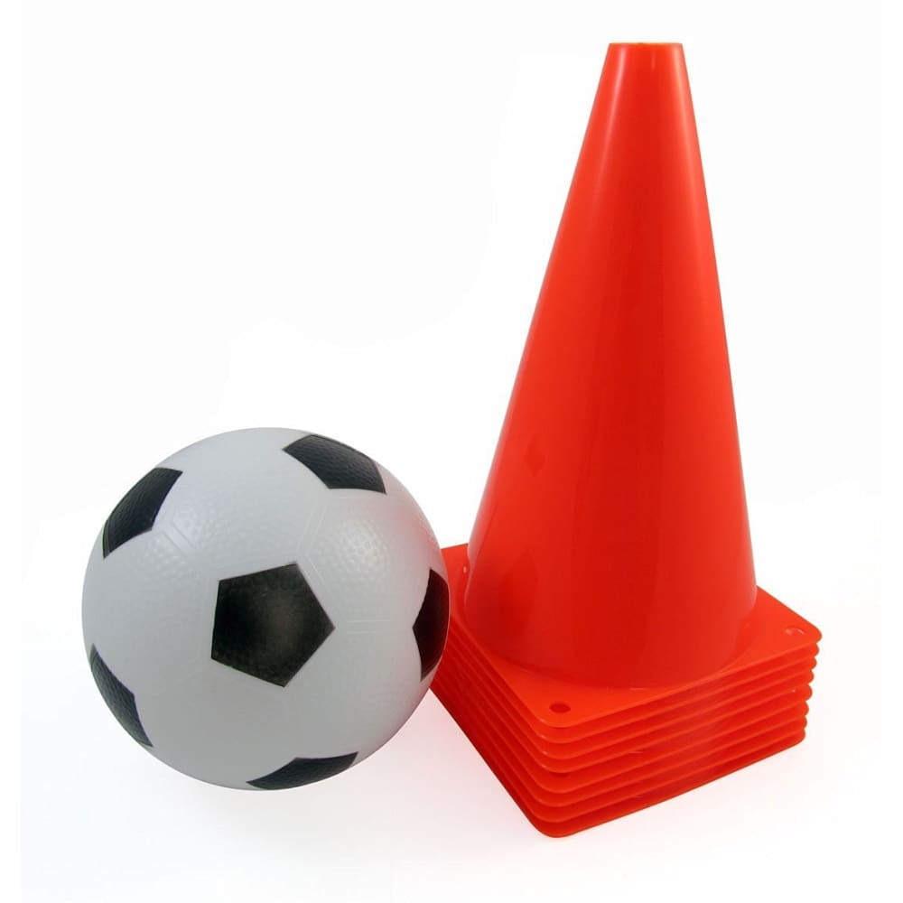 Set of 8 Sports Practice Cones With Soccer Ball