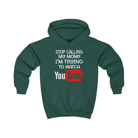 Stop Calling My Mom Kids Hoodie - Bottle Green / XS - Kids clothes